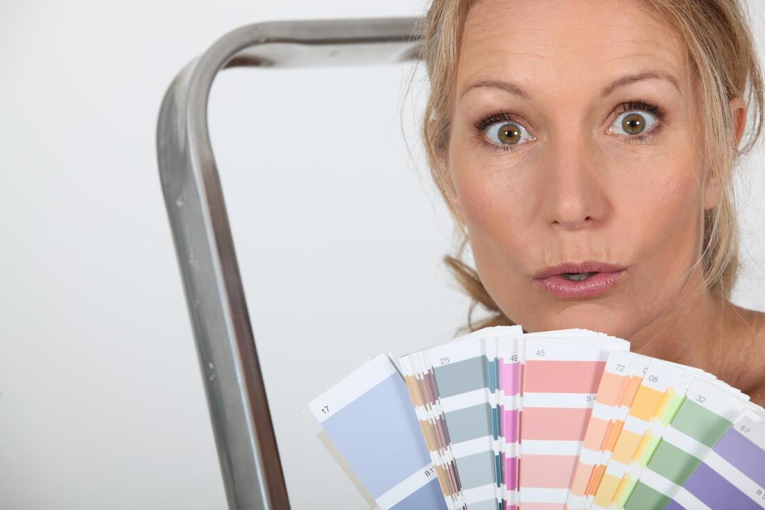 paint color consultant in Fredericton holding paint colors